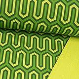 Softshell Stoff Retromuster grün - Preis Gilt für 0,5