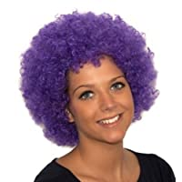Adult Unisex Mens Ladies Curly Afro Wig for 70s 80s Disco Fancy Dress Accessory Purple by Partypackage Ltd