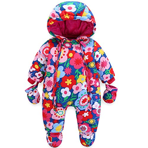 95dfac126c JiAmy Baby Girls Winter Hooded Romper Floral Snowsuit with Gloves Booties  Cotton Outfits 12-18