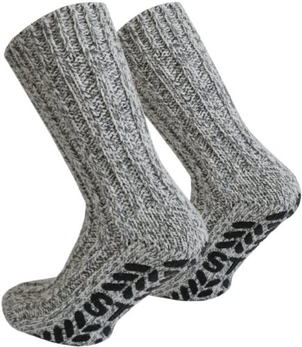 Tobeni 3 Paar ABS Stoppersocken Norwegersocken Socken mit Schafwolle für Damen und Herren Farbe Mehrfarbig Grösse 43-46