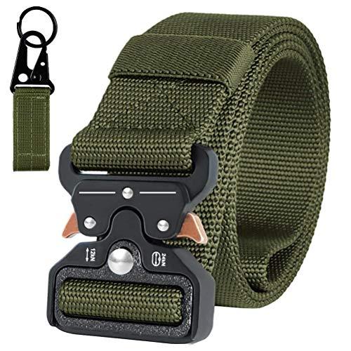 AIZESI Tactical Gürtel Beutegürtel Sicherheitsggurte Jungen Herren Gürtel Tactical Duty Gürtel Nylon Gurtband Mit Gürtelschnalle (Grün(Schlüsselanhänger)) -
