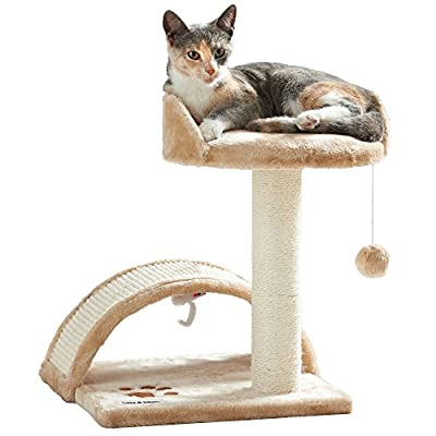 Milo & Misty Cat Bed and Scratching Post Activity Tree with Toys Cat Bed and Scratching Post Activity Tree with Toys - Beige