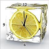 Artland Analoge Wand-Funk-oder Quarz-Uhr Digital-Druck Leinwand auf Holz-Rahmen gespannt mit Motiv Tomislav Forgo Zitrone im Eiswürfel Ernährung & Genuss Lebensmittel Obst Fotografie Gelb A6AX