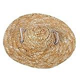 Sombrero de paja lindo del animal doméstico, sombreros elegantes del traje Sombrero tejido pequeño hecho a mano Sombrero encantador del sol con la correa ajustable de Chin para el perrito Gato del peq(L)