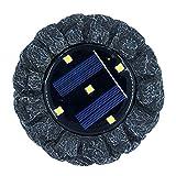 Zichen LED Piedra solar Luz cálida Noche Luz Resina Jardín al aire libre Luces de césped Simulación Luces de piedra (Roca)