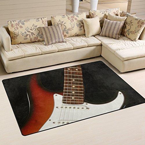 Naanle Musik Gitarre Rutschfeste Bereich Teppich für Living Eßzimmer Schlafzimmer Küche, 50x 80cm (1,7'X 2,6' ft), Musik Kinderzimmer Teppich Boden Teppich Yoga Matte, Multi, 100 x 150 cm(3' x 5')
