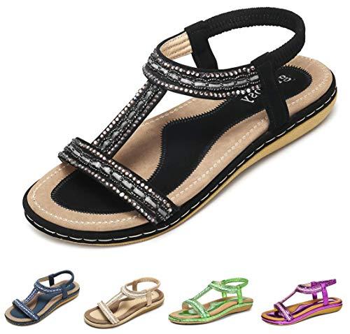 Gracosy Sandales Femmes Plates, Chaussures Été Nu Pieds à...