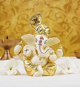 Gold Art India Ceramic Ganesh Idol for Car Dashboard(6x4x3cm, Gold)