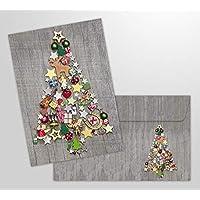 """10 tarjetas de Navidad """"Árbol de Navidad colorido"""" con sobres - 10 piezas tarjetas plegables nostálgicas para Navidad en un juego con sobres"""