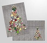Karten und Co. - 10 biglietti di auguri natalizi con busta, motivo: albero di Natale colorato, con buste, stile nostalgico
