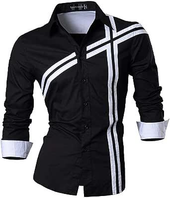 Sportrendy Men Casual Slim Fit Short Sleeve Button Down Dress Shirt JZS055