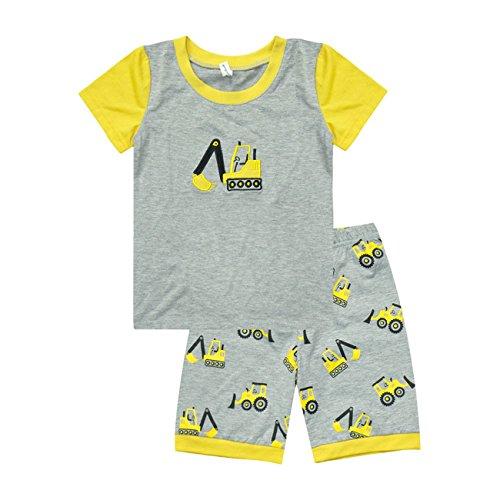 Eulla Bambini Ragazzi a maniche corte pigiama Escavatore vestito Outfit 2-7 (3 Pezzi Bambino Outfit)