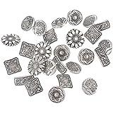 50 botones vintage imitacion plata enevejecida para scrapbooking, costura, decoracion..