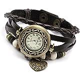 Vintage Kaffee Wickelarmband Damen Armbanduhr Lederarmband Bronze Herz Anhänger Holzperlen Analog Quarz Uhr,JSDDE Uhren