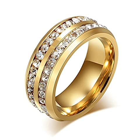 Beydodo Stainless Steel Rings (Wedding Bands) For Unisexs Two Line CZ Circle Round Size R 1/2 Gold