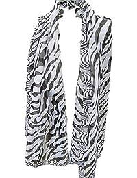 Black Zebra print light weight chiffon feel ladies Fashion Shawl Scarf Wrap 150cm x 50cm Posted by Fat-Catz