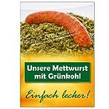Gastro-Plakat Mettwurst con Cavolo A1, Manifesto Pubblicitario Locandina Ristorante Spuntino