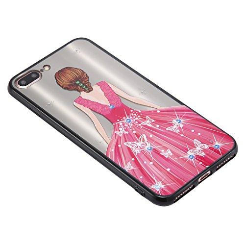 iPhone 7 Plus Spiegel Hülle, Rosa Schleife Weiche TPU Silikon Schutzhülle Handyhülle Backcover Glitzer Mirror Cases mit Schmetterling schönes Mädchen Muster Design für iPhone 7 Plus Grün Kleid Rosa Schmetterling Kleid