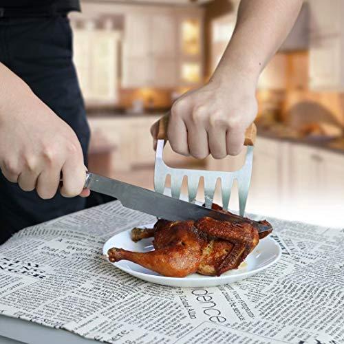 51s bA 9IYL - Fleisch Krallen für Pulled Pork Meat Claws BBQ Gabeln Bärenkrallen Edelstahl mit Holzgriff [2 Stück] Langlebig & Scharfe, Geschwungene Gabeln zum Greifen, Zerkleinern & Reißen von Fleisch & Hühnchen