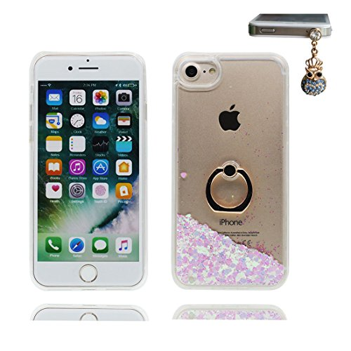 "Hülle iPhone 7, iPhone 7 Handyhülle Cover (4.7 zoll), [Liquid Fließendes Glitzer Bling Bling lila Floating sparkles] iPhone 7 Case Shell (4.7"") Ring Stand - Anti-Beulen & Staubstecker # 1"