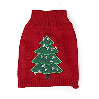 Ansel's Puppy Small Dog Christmas Sweater Clothes Xmas Decro (Tree Pattern XS)