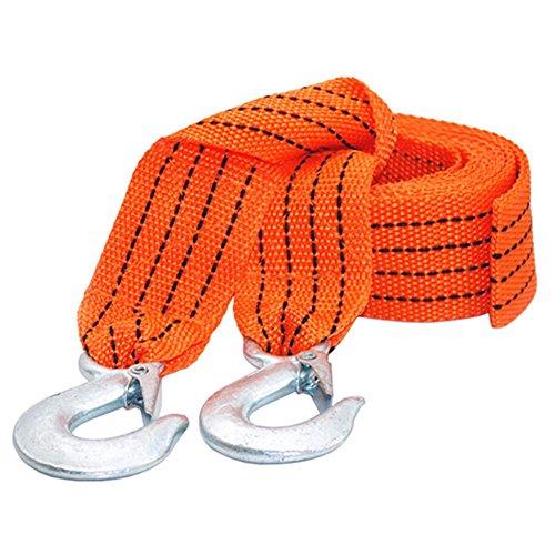 Delaman Auto Abschleppseil 3m 3000kg mit 2 Stahl-Sicherheitshaken für Fahrzeug (Color : Orange)