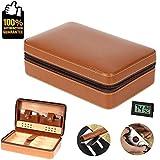edcb798b51 Custodia da viaggio per sigari di cedro in vera pelle portatile Cedar  Humidor con portautensili Set