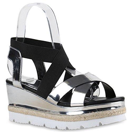 Damen Keilsandaletten Bast Sandaletten Weiße Profilsohle Wedges Silber Schwarz