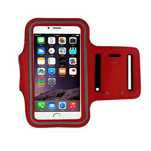 Ouneed® Luxux Armband Gymnastik laufender Sport Armbinde Abdeckungs Fall Schutzhülle für iPhone SE 5 5S Case Cover (grün) rot
