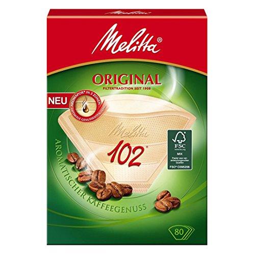 80 x Filtertüten / Kaffeefilter 'Melitta Original 102' (Naturbraun / 3 Aromazonen-Filter)