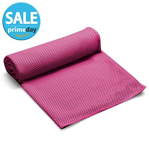 FITVC Kühlung Towel-Set von 2Material Schnelle Kühlung Handtuch Ice Schal Bandana Hals Kühler für Yoga, Fitness, Gym, Golf, Running, rot