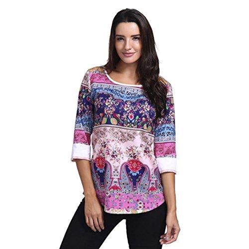 Longra★ Autumn Stylish Pullover Camiseta O-Cuello de Tres Cuartos To
