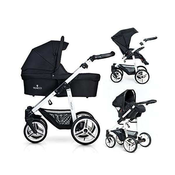 Venicci Soft Vento 3-in-1 Travel System - Black/White - with Carrycot + Car Seat + Changing Bag + Footmuff + Raincover + Mosquito Net + 5-Point Harness and UV 50+ Fabric + Car Seat Adapters  3 in 1 Travel System with included Group 0+ Car Seat Suitable for your baby from birth until 36 months 5-point harness to enhance the safety of your child 1