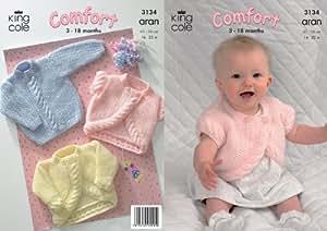 King Cole Comfort Aran Knitting Pattern Babies Knitted Jacket Bolero & Sweater 3134 by King Cole