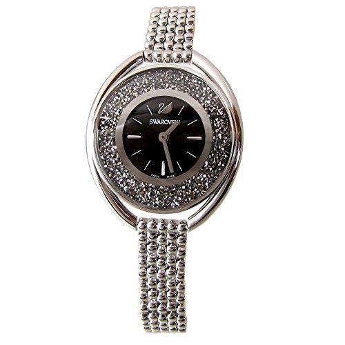 Swarovski Damen-Armbanduhr, schwarzes Armband, Kristall, oval, schwarz, 5181664