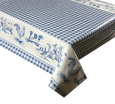 3M (300x 137cm) Nappe en vinyle à carreaux Bleu et Blanc Animaux Facile à Nettoyer PVC Nappe Envers Textile (77)