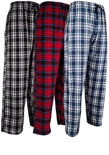 Andrew Scott Herren 3Er-Pack Baumwolle Flanell Fleece Pinsel Pyjama Schlafen & Lounge Hosen Small 3er-Pack - klassischen Flanell Sortiert Plaids -