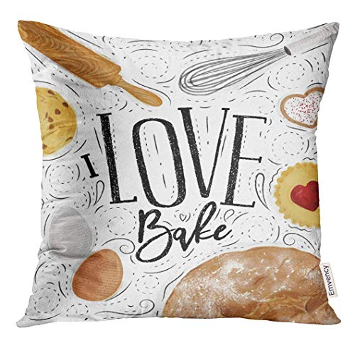 Square Rolling Pin (Cupsbags Throw Pillow Cover Bakery with Illustrated Cookie Egg Whisk Rolling Pin Bread in Vintage Lettering I Love Bake Drawing Decorative Pillow Case Home Decor Square 18x18 Inches Pillowcase)