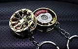 Konkave Metall Felge mit Bremsscheibe Schlüsselanhänger #53 Gold-Chrom - massiver Anhänger - von VmG-Store OEM VAG DUB Brembo