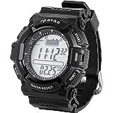 spovan Herren Armbanduhr Digital Sport Outdoor Armbanduhr Wasserdicht, Angeln erinnern/Wettervorhersage/LED Hintergrundbeleuchtung/Stoppuhr SPV706