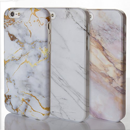 Étuis de téléphone pour iPhone Motif Marbre Pierre naturelle texturé brillant Designs sur mesure par iCaseDesigner, plastique, 13: Grey and White Marble v2, iPhone 5 / 5S / SE - Slim Case 4: Pink and Cream Marble