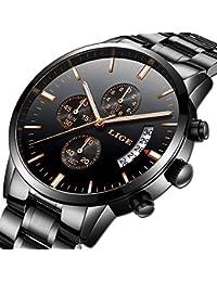 Reloj para Hombres Marca de Lujo LIGE Acero Inoxidable Reloj de Cuarzo analógico Moda de Negocios Impermeable Cronógrafo…