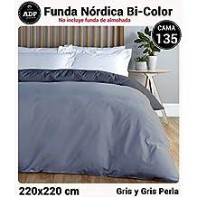ADP Home - Funda nórdica Bi-Color, Calidad 144 Hilos, 10 combinaciones de colores cama de 135 cm - Gris y Gris Perla