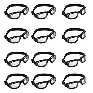 Gafas de Seguridad (12 piezas) – Plegable Gafas Protectoras con Cojín de Espuma Negra – Prueba de Polvo Gafas Laboratorio, Deportes, Ciclismo y Trabajo