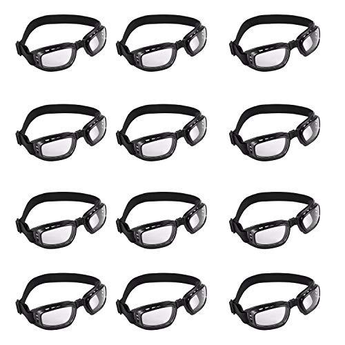 Motorradbrille (12 Stücke) - Staubdichte Faltbaren Bikerbrillen - Augenschutzbrille Schutzbrille für Radfahren, Reiten, Wandern, Laufen - Schwarzer