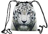 Hanessa Jutebeutel mit Löwen Tier Aufdruck Sportbeutel Tüte Rucksack Beutel Tasche Gym Bag Gymsack Hipster Fashion Sport-Tasche Einkaufs-Tasche Weiß Löwe
