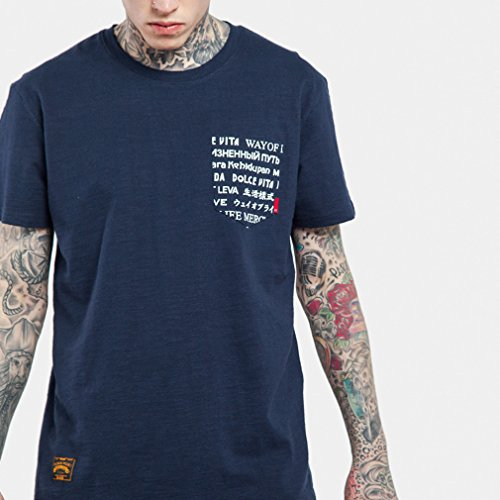 Honghu Herren einfach Crew Neck T-shirt Blau