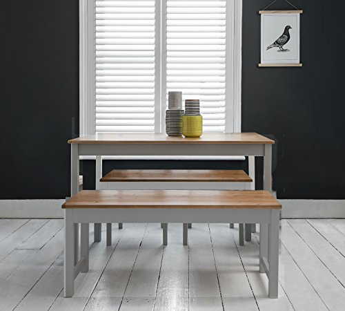 Annika Dining Table and Benches in Silk Grey and Natural Pine