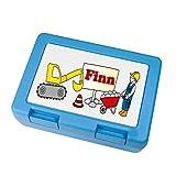 Kinder-Brotdose Baustelle-Bauarbeiter mit Wuschnamen personalisiert Brotzeitbox, Bagger, Lunchbox, Brotbüchse, Kita, Schule