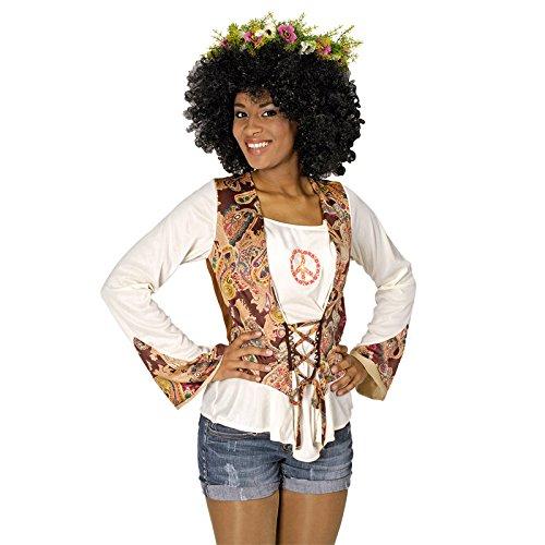 Kinder Für Siebziger Jahre Kostüme (NEU Damen-Kostüm Hippie Bluse mit Weste, Gr.)